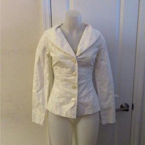 BETSEY JOHNSON WHITE FLORAL 4 BUTTON BLAZER SIZE 2